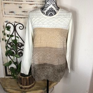 Alfred Dunner neutral color block chenille sweater